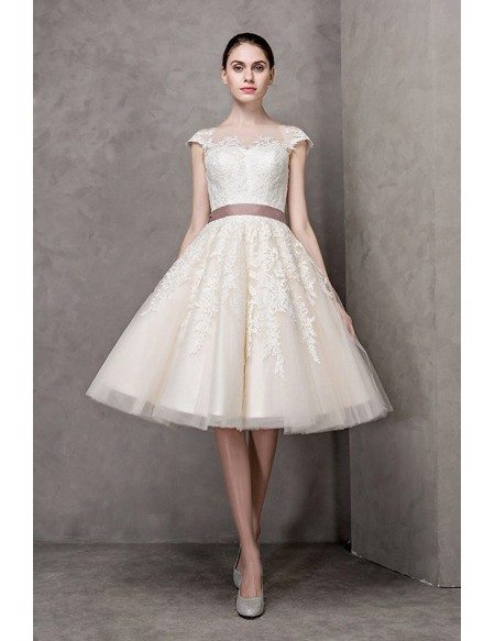 Vintage Short Wedding Dresses Lace Cap Sleeves Ivory High Neck Knee Length Style With Sash Epj14 144 Gemgracecom