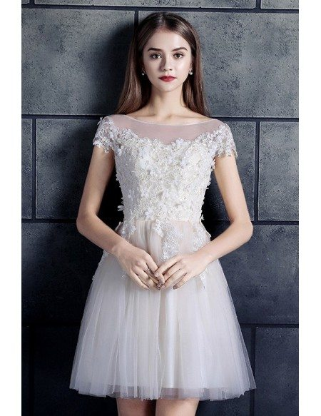 Cheap Short Wedding Dresses Lace With Sleeves White High Neck A Line Tulle Style Ep201 109 Gemgrace Com