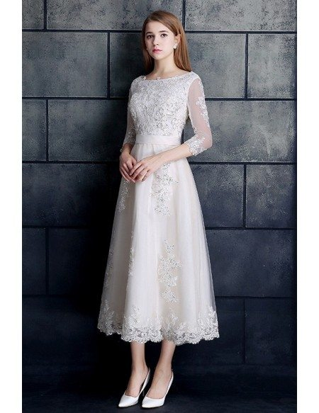 Vintage Tea Length Wedding Dress 3 4