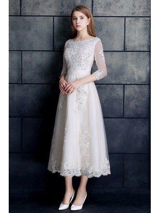 Vintage Tea Length Lace Tulle A-line White Wedding Dress 3/4 Sleeve