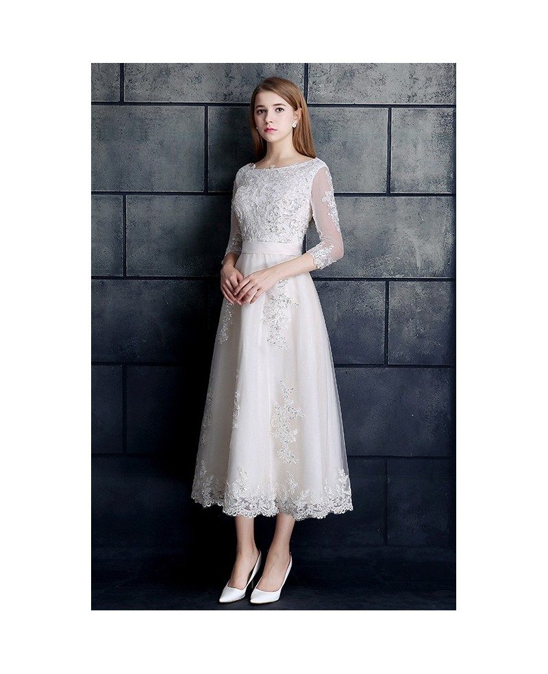 Vintage Tea Length Wedding Dress 3/4 Sleeve Lace Tulle A