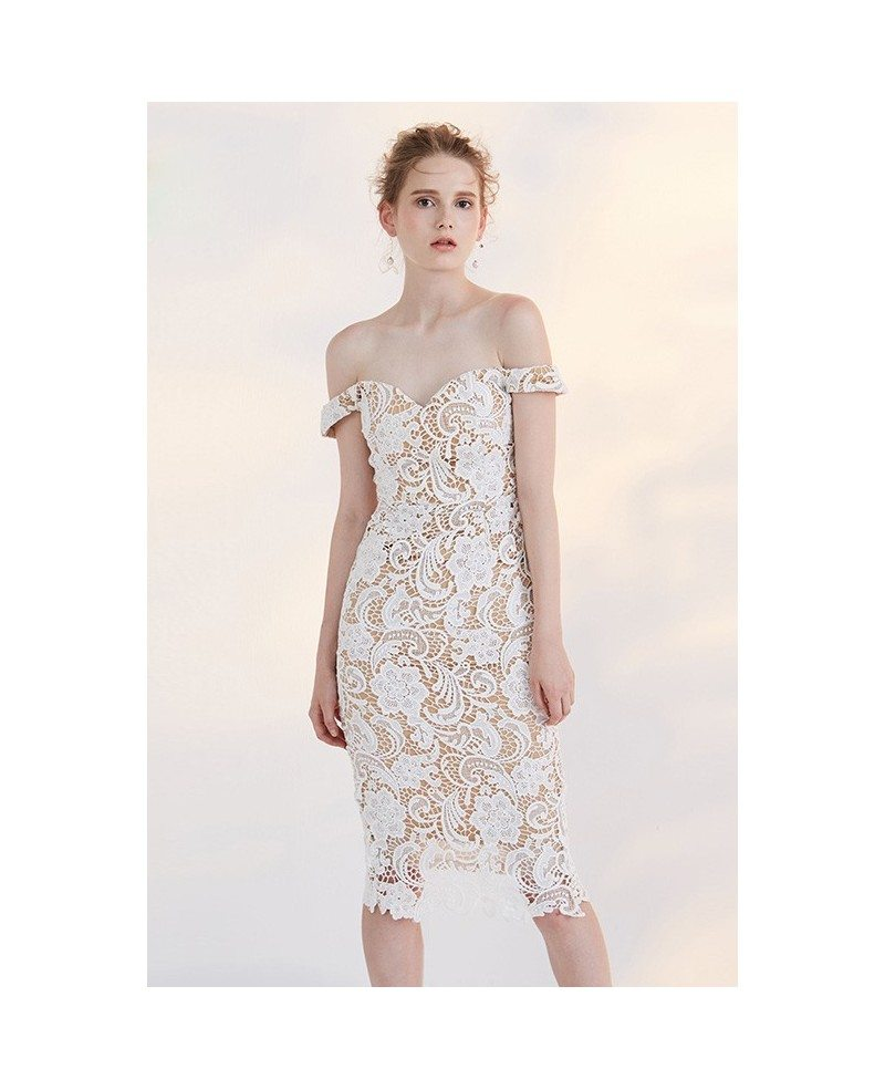 Tight Short Lace Wedding Dresses Reception Ivory Lace