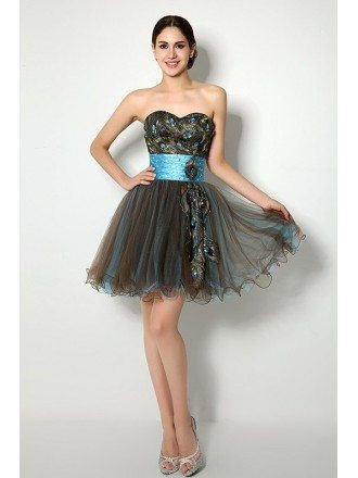 Short/Mini Sweetheart Feather Prom Dress