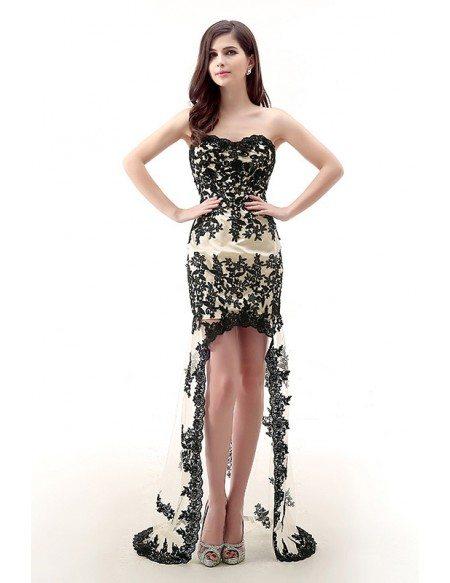 Sheath Sweetheart Asymmetrical Lace Prom Dress