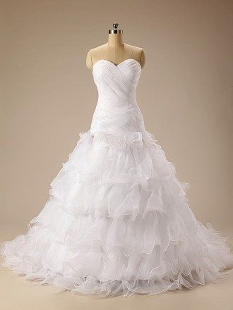 Ball-Gown Sweetheart Court Train Organza Prom Dress With Cascading Ruffles