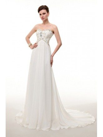Empire Sweetheart Sweep Train Chiffon Dress With Beading