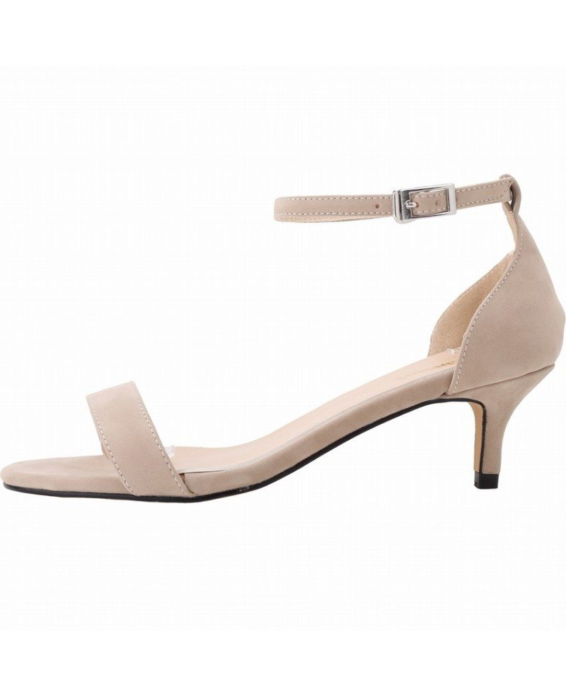 super cheap look out for factory outlets Nude Suede Peep Toe Kitten Heels Sandals - GemGrace