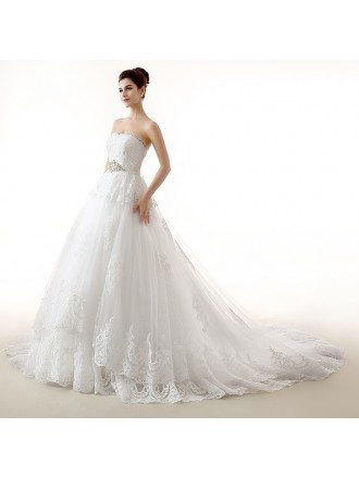Ball-Gown Sweetheart Chaple Train Tulle Wedding Dress With Appliquer Lace Beading