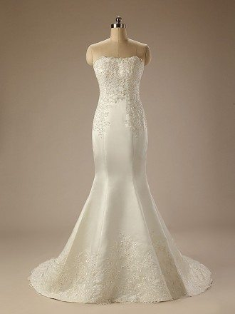 Mermaid Strapless Sweep Train Satin Wedding Dress With Beading Appliquer Lace