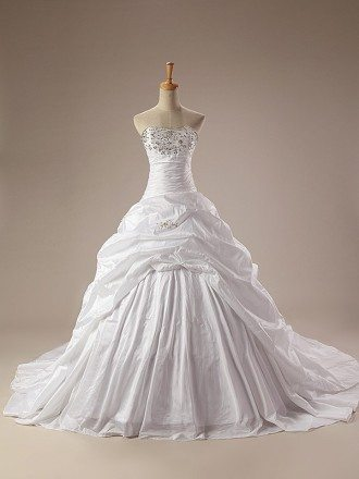Ball-Gown Strapless Chaple Train Taffeta Wedding Dress With Ruffles Beading