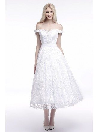 A-Line Off-the-Shoulder Tea-Length Lace Wedding Dress