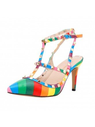 Rainbow Color Patent-Leather Stiletto Closed Toe Slingback Pumps