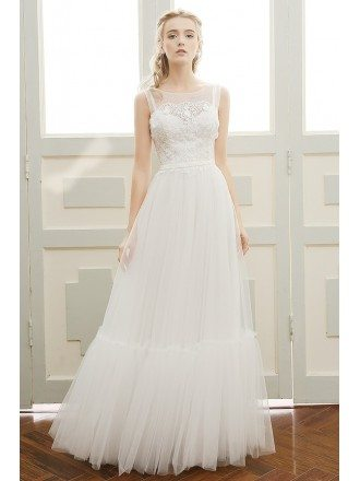A-line Scoop Neck Floor-length Tulle Beach Wedding Dress With Open Back