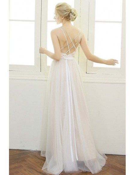 Sexy A-line V-neck Floor-length Tulle Boho Wedding Dress With Open Back