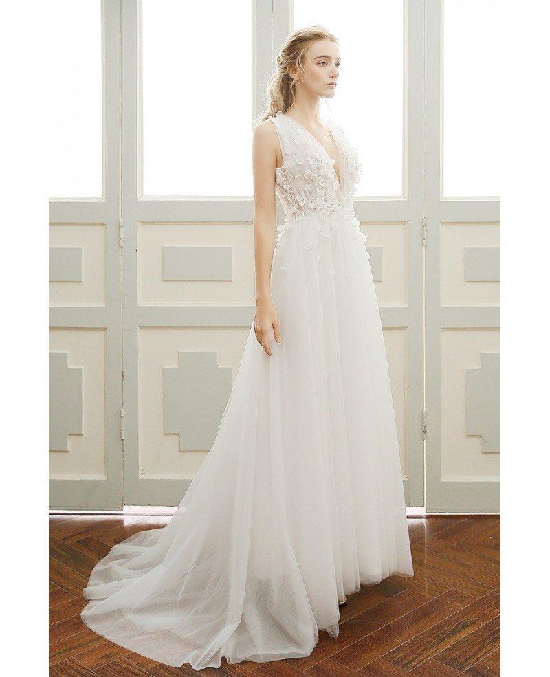 V Neck Wedding Gown: A-line Simple Boho Wedding Dress Deep V-neck Sweep Train