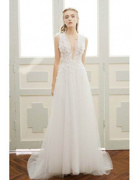 A-line Deep V-neck Sweep Train Tulle Boho Wedding Dress With Open Back