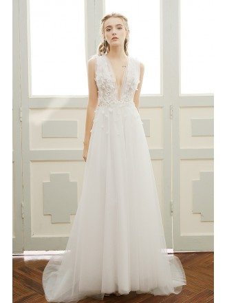 A-line Deep V-neck Sweep Train Tulle Boho Wedding Dress With Open Back