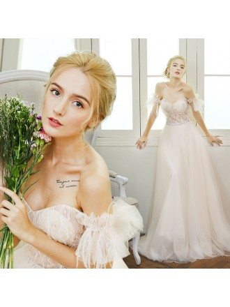 Sexy A-line Sweetheart Floor-length Tulle Wedding Dress With Flowers