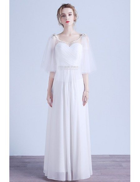 Elegant A-line Scoop Neck Floor-length Chiffon Wedding Dress With Beading