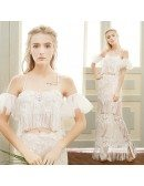 Sheath Halter Floor-length Lace Boho Wedding Dress With Fringe