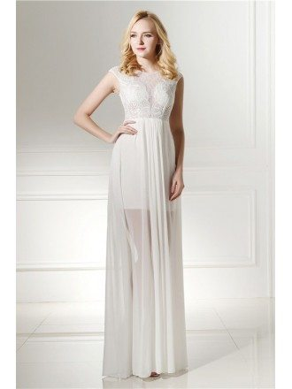 Sheath Scoop Floor-length Prom Dress with Lace