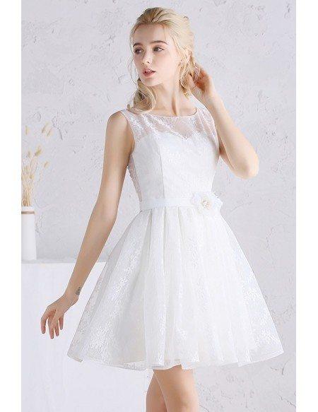 Pretty A-line Scoop Neck Short Lace Wedding Dress
