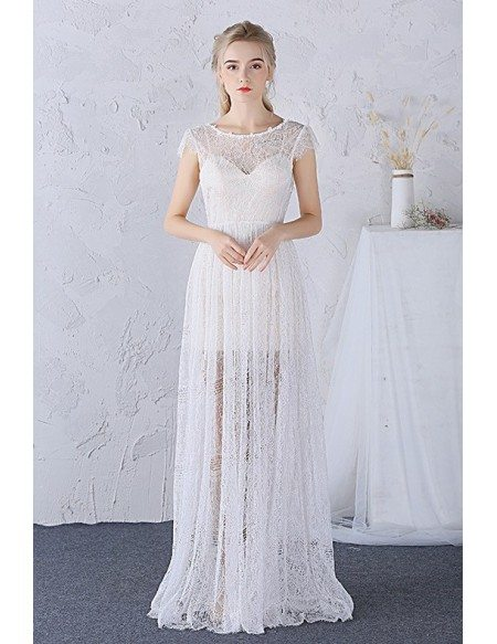 A-line Scoop Neck Floor-length Boho Lace Wedding Dress With Cap Sleeves