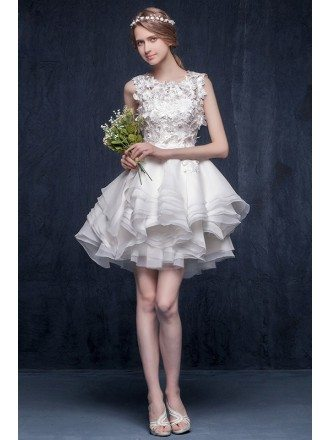 Unique A-line Scoop Neck Short Organza Ruffled Wedding Dress With Appliques Lace