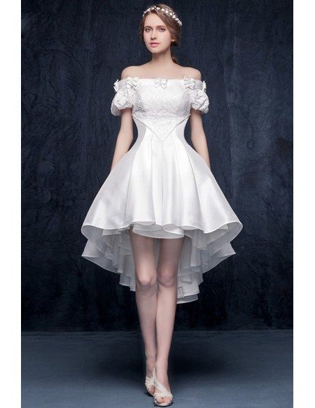 Gorgeous A-line Off-the-shoulder High Low Satin Wedding Dress with Bow