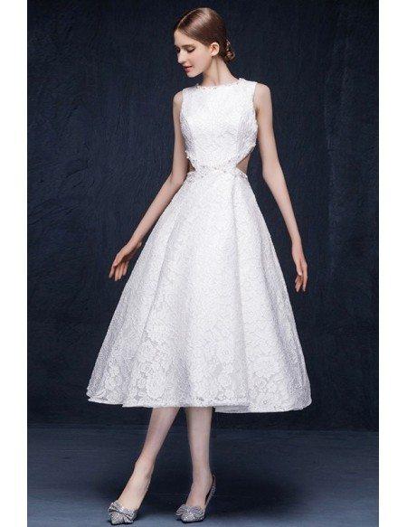 A-line High Neck Tea-length Unique Lace Cutout Wedding Dress