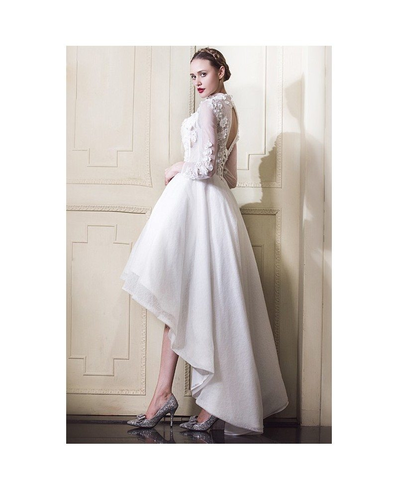 Fancy Dressing Gowns: Classy Lace High Low Wedding Dresses With Sleeves A-line