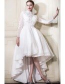Fancy A-line High Neck High Low Lace Wedding Dress With Long Illusion Sleeves