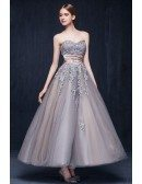 Vintage A-line Sweetheart Ankle-length Tulle Wedding Dress With Appliques Lace