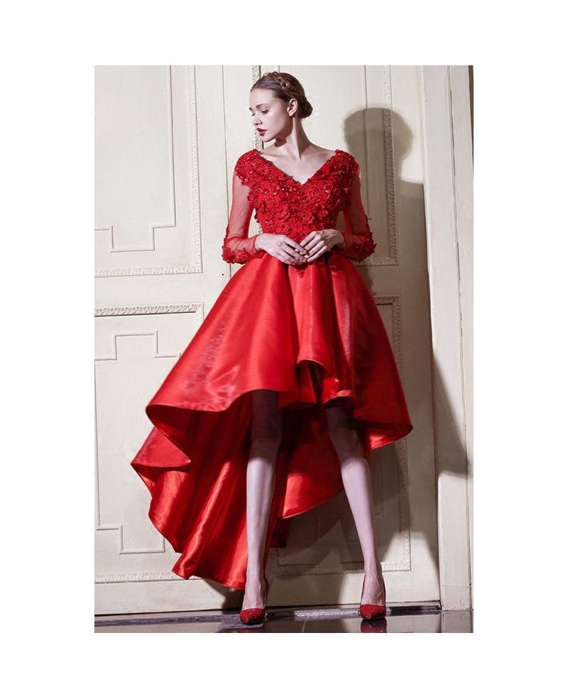 Red A Line High Low Wedding Dresses With Sleeves V-neck