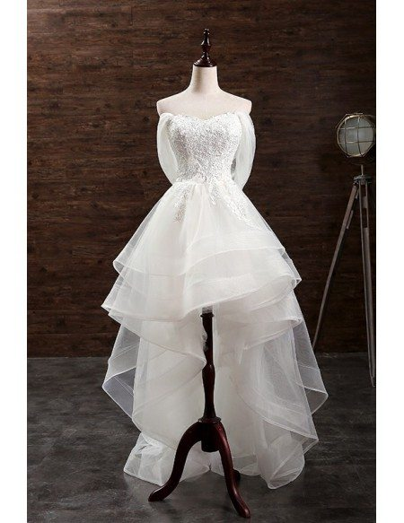 Trendy A-line Sweetheart High Low Organza Wedding Dress With Appliques Lace