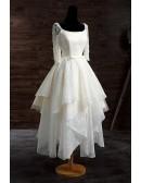 Vintage A-line Scoop Neck Short Lace Wedding Dress With Appliques Lace