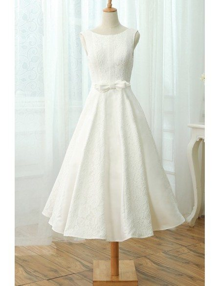 A-line Scoop Neck Tea-length Lace Wedding Dress with Bow Sash