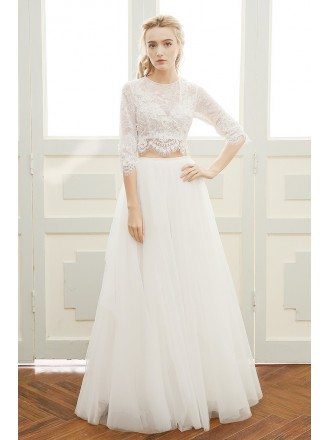 A-line Scoop Neck Floor-length Two-piece Tulle Bohemian Wedding Dress With Lace