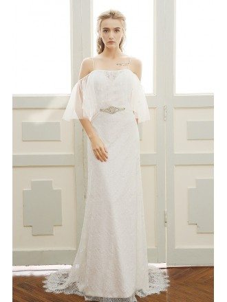 Goddess A-line Off-the-shoulder Sweep Train Beach Lace Wedding Dress