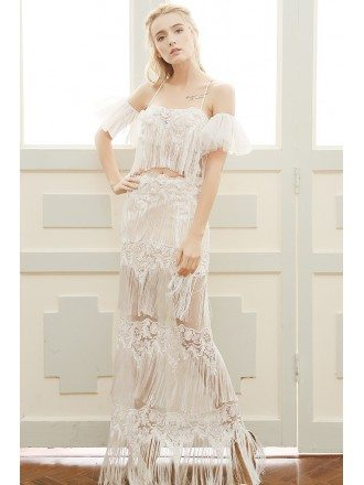 Sheath Halter Floor-length Lace Boho Wedding Dress With Fringe