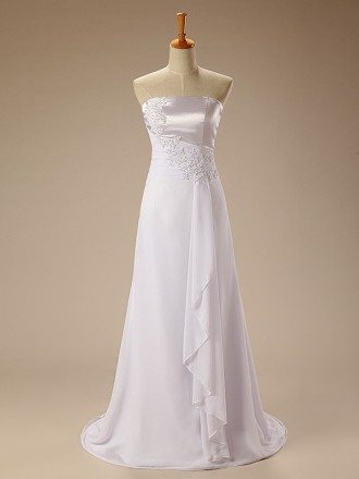 Beaded Lace Strapless Long Chiffon Wedding Dress Ruffles