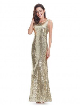 Gold Mermaid Scoop Neck Sequined Long Party Dress