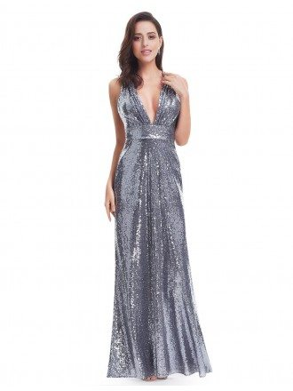 Sliver Sheath Deep V-neck Sequined Long Party Dress