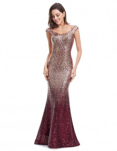 Mermaid Scoop Neck Sequined Long Party Dress