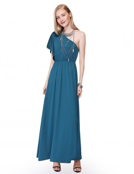 A-line One-shoulder Chiffon Long Party Dress