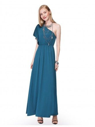 A-line One-shoulder Chiffon Long Party Dress