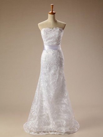 Long Lace Mermaid Strapless Wedding Dress with Sash