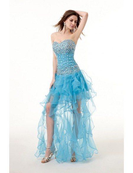Popular Beaded Asymmetrical High Low Prom Dress