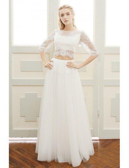 Trendy Two-piece Lace Half Sleeves Boho Beach Wedding Dress Backless