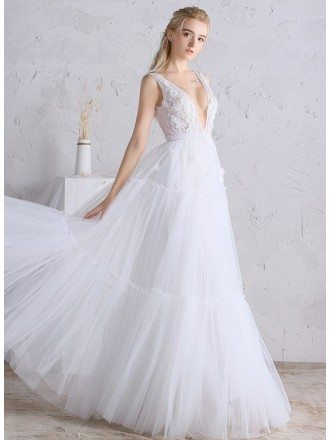 Sexy Deep V-neck A-line Long Tulle Boho Beach Wedding Dress Open Back